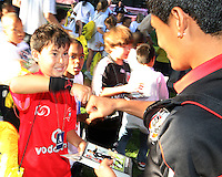 """Andy Najar and friend during a  D.C United clinic in support of first lady Michelle Obama's """"Let's Move"""" initiative on the White House lawn, in Washington D.C. on October 7 2010."""