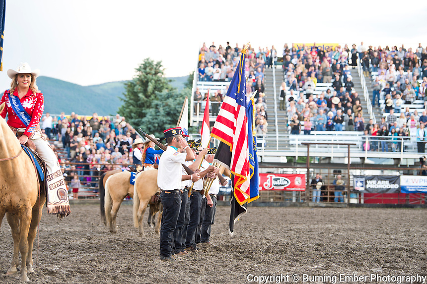 Opening colors at the Livingston Roundup 3rd perf July 4th 2019.  Photo by Josh Homer/Burning Ember Photography.  Photo credit must be given on all uses.