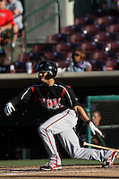 Rico Noel #1 of the Lake Elsinore Storm bats against the Inland Empire 66'ers at San Manuel Stadium on July 15, 2012 in San Bernardino, California. Inland Empire defeated Lake Elsinore 4-3. (Larry Goren/Four Seam Images)