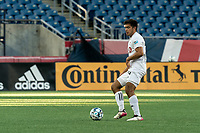 FOXBOROUGH, MA - JULY 9: Jon-Talen Maples #34 of Toronto FC II passes the ball during a game between Toronto FC II and New England Revolution II at Gillette Stadium on July 9, 2021 in Foxborough, Massachusetts.