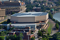 aerial photograph of of the University of Tennessee Thompson-Boling Arena, Knoxville, Knox County, Tennessee; Neyland Stadium is in the background