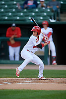 Peoria Chiefs shortstop Tommy Edman (16) at bat during a game against the West Michigan Whitecaps on May 8, 2017 at Dozer Park in Peoria, Illinois.  West Michigan defeated Peoria 7-2.  (Mike Janes/Four Seam Images)