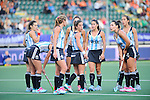 The Hague, Netherlands, June 01: Players of Argentina huddle together prior to a penalty corner during the field hockey group match (Women - Group B) between Argentina and South Africa on June 1, 2014 during the World Cup 2014 at Kyocera Stadium in The Hague, Netherlands. Final score 4:1 (2:0) (Photo by Dirk Markgraf / www.265-images.com) *** Local caption ***