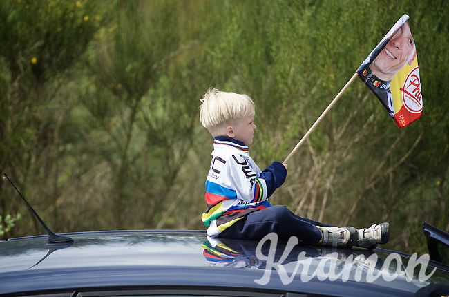 young Philippe Gilbert fan waiting for his hero<br /> <br /> 101th Liège-Bastogne-Liège 2015