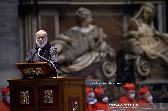 Cardinal Raniero Cantalamessa.Pope Francis the ceremony of the Good Friday Passion of the Lord Mass in Saint Peter's Basilica at the Vatican.April 2, 2021