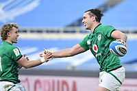 James Lowe  of Ireland celebrates with Craig Casey after scoring a try<br /> Roma, Olimpico stadium, 27/02/2021.<br /> Italy vs Ireland <br /> Six Nations 2021 rugby trophy <br /> Photo Antonietta Baldassarre/ Insidefoto