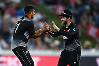 20th December 2020; Hamilton, New Zealand;  Ish Sodhi (L) and Kane williamson celebrate the wicket of Khushdil Shah, New Zealand Black Caps versus Pakistan, International Twenty20 Cricket. Seddon Park, Hamilton, New Zealand.