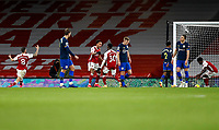 17th December 2020, Emirates Stadium, London, England;  Arsenals Pierre-Emerick Aubameyang celebrates with teammates after scoring his goal for 1-1 in the 52nd minute during the English Premier League match between Arsenal and Southampton