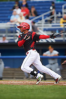 Batavia Muckdogs right fielder Jhonny Santos (32) at bat at bat during a game against the West Virginia Black Bears on June 28, 2016 at Dwyer Stadium in Batavia, New York.  Batavia defeated West Virginia 3-1.  (Mike Janes/Four Seam Images)