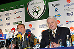 Dublin Ireland, Football Association of Ireland new International Soccer Team Manager Steve Staunton (L) with his assistant Sir Bobby Charlton (R) speaking at a press conference after the announcement of the Duo, in the Mansion House in Dublin 16/1/2006 .Photo AFP/NEWSFILE/FRAN CAFFREY..(Photo credit should read AFP PHOTO FRAN CAFFREY/NEWSFILE)...This Picture has been sent you under the condtions enclosed by:.Newsfile Ltd..the Studio,.Millmount Abbey,.Drogheda,.Co Meath..Ireland..Tel: +353(0)41-9871240.Fax: +353(0)41-9871260.GSM: +353(0)86-2500958.email: pictures@newsfile.ie.www.newsfile.ie.FTP: 193.120.102.198..This picture is from Fran Caffrey@newsfile.ie