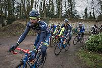 Later winner Guillaume van Keirsbulck (BEL/Wanty-Groupe Gobert) on the Chemin de Wihéries cobble section (Honelles)<br /> <br /> GP Le Samyn 2017 (1.1)