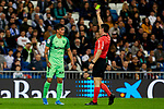 Jonathan Silva of CD Leganes sees the yellow card during La Liga match between Real Madrid and CD Leganes at Santiago Bernabeu Stadium in Madrid, Spain. October 30, 2019. (ALTERPHOTOS/A. Perez Meca)