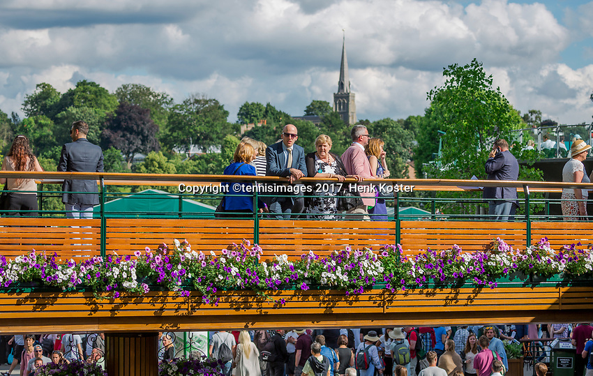 London, England, 3 th July, 2017, Tennis,  Wimbledon, Atmosphere with St Mary's church in the background<br /> Photo: Henk Koster/tennisimages.com