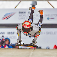 9 January 2016: Axel Jungk, competing for Germany, pushes off for his first run start of the BMW IBSF World Cup Skeleton race at the Olympic Sports Track in Lake Placid, New York, USA. Jungk ended the day with a combined 2-run time of 1:49.77 and a 4th place finish. Mandatory Credit: Ed Wolfstein Photo *** RAW (NEF) Image File Available ***