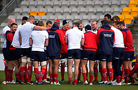 The Lions huddle during the 2017 DHL Lions Series rugby union  British & Irish Lions captain's run at Porirua Park in Porirua, New Zealand on Monday, 26 June 2017. Photo: Dave Lintott / lintottphoto.co.nz