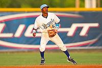 Second baseman Justin Trapp #6 of the Burlington Royals on defense against the Bristol White Sox at Burlington Athletic Park on July 9, 2011 in Burlington, North Carolina.  The Royals defeated the White Sox 3-2.   (Brian Westerholt / Four Seam Images)