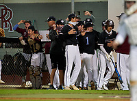 Riverview Rams celebrate a run during a game against the Sarasota Sailors on February 19, 2021 at Rams Baseball Complex in Sarasota, Florida. (Mike Janes/Four Seam Images)