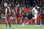 FC Barcelona's Andres Iniesta, Luis Suarez and Neymar Jr dejected during La Liga match. April 2,2016. (ALTERPHOTOS/Acero)