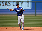 Corey Seager makes a play during a spring training game between the Texas Rangers and Los Angeles Dodgers in Surprise, Ariz., on Sunday, March 7, 2021.<br /> Photo by Cathleen Allison