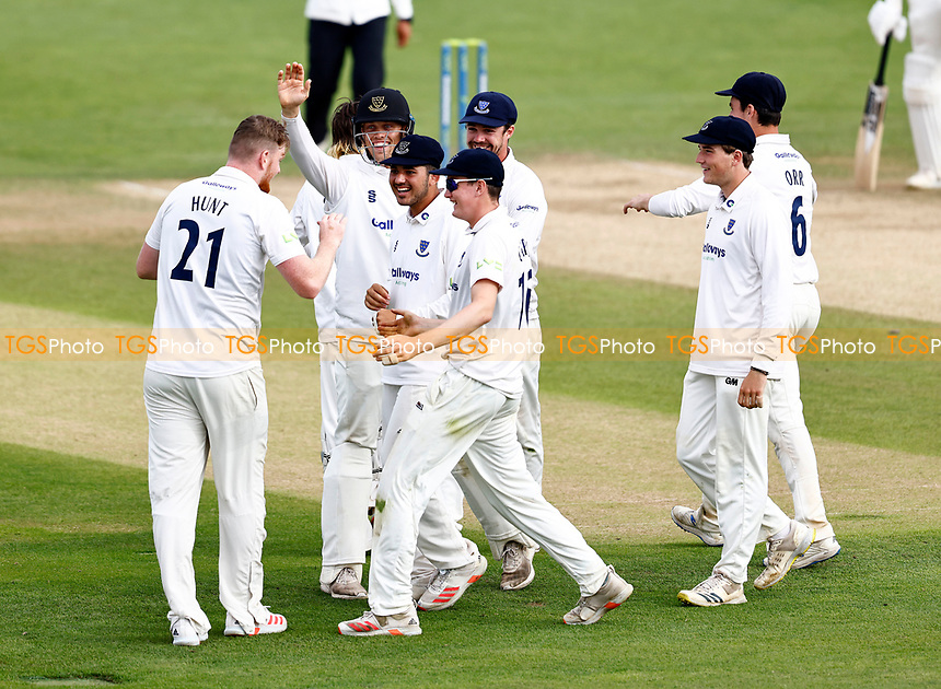Sean Hunt (L) of Sussex is mobbed after taking the wicket of Harry Finch during Kent CCC vs Sussex CCC, LV Insurance County Championship Group 3 Cricket at The Spitfire Ground on 14th July 2021