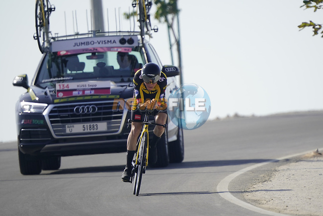 Sepp Kuss (USA) Team Jumbo-Visma during Stage 2 of the 2021 UAE Tour an individual time trial running 13km around  Al Hudayriyat Island, Abu Dhabi, UAE. 22nd February 2021.  <br /> Picture: Eoin Clarke | Cyclefile<br /> <br /> All photos usage must carry mandatory copyright credit (© Cyclefile | Eoin Clarke)