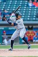Columbus Clippers designated hitter Mark Mathias (23) during an International League game against the Indianapolis Indians on April 29, 2019 at Victory Field in Indianapolis, Indiana. Indianapolis defeated Columbus 5-3. (Zachary Lucy/Four Seam Images)