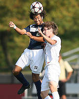 04 September 2009:Justin Morrow #21 of the University of Notre Dame wins a header from Justin Lichtfuss #4 of Wake Forest University during an Adidas Soccer Classic match at the University of Indiana in Bloomington, In. The game ended in a 1-1 tie..