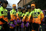 Ale Cipollini team riders prepared for the bad weather before the start of the Strade Bianche Women Elite NamedSport race running 136km from Siena to Siena, Italy. 3rd March 2018.<br /> Picture: LaPresse/Fabio Ferrari | Cyclefile<br /> <br /> <br /> All photos usage must carry mandatory copyright credit (© Cyclefile | LaPresse/Fabio Ferrari)