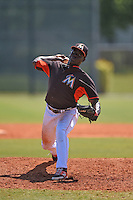 Miami Marlins pitcher Juancito Martinez  (44) during a minor league spring training game against the St. Louis Cardinals on March 31, 2015 at the Roger Dean Complex in Jupiter, Florida.  (Mike Janes/Four Seam Images)
