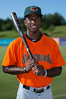 Lucius Fox (1) of the Augusta GreenJackets poses for a photo prior to the game against the Kannapolis Intimidators at Intimidators Stadium on May 30, 2016 in Kannapolis, North Carolina.  The GreenJackets defeated the Intimidators 5-3.  (Brian Westerholt/Four Seam Images)