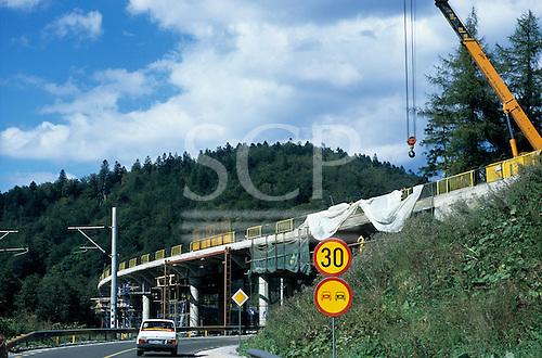 Transylvania, Romania. New concrete road flyover under construction.
