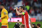Cardiff - UK - 6th September :<br />Wales v Azerbaijan European Championship 2020 qualifier at Cardiff City Stadium.<br />Wales football captain Gareth Bale cools himself down ahead of kick off.<br /><br />Editorial use only