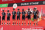 Team DSM at sign on before the start of Stage 6 of the 2021 UAE Tour running 165km from Deira Island to Palm Jumeirah, Dubai, UAE. 26th February 2021.  <br /> Picture: Eoin Clarke   Cyclefile<br /> <br /> All photos usage must carry mandatory copyright credit (© Cyclefile   Eoin Clarke)