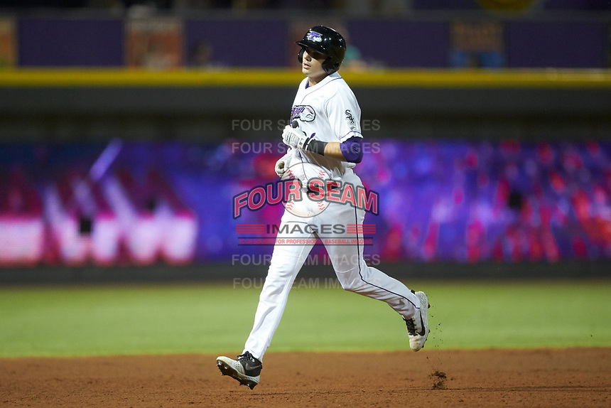 Craig Dedelow (26) of the Winston-Salem Dash rounds the bases after hitting a home run against the Carolina Mudcats at BB&T Ballpark on June 1, 2019 in Winston-Salem, North Carolina. The Dash defeated the Mudcats 5-4 in game two of a double header. (Brian Westerholt/Four Seam Images)