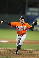 Norfolk Tides pitcher Pat Neshek #34 delivers a pitch during a game against the Empire State Yankees in the first ever Triple-A contest to be held at Dwyer Stadium on April 20, 2012 in Batavia, New York.  (Mike Janes/Four Seam Images)