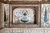 """Agra, India.  Still-life Floral Painting inside the Itimad-ud-Dawlah, Mausoleum of Mirza Ghiyas Beg.  The tomb is sometimes referred to as the """"Baby Taj."""""""