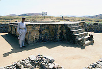 Stupa of the double headed Eagle in the Buddhist city of Taxila in the Swat valley in Pakistan..Taxila, the main centre of Gandhara, is over 3,000 years old. Taxila had attracted Alexander the great from Macedonia in 326 BC, with whom the influence of Greek culture came to this part of the world. Taxila later came under the Mauryan dynasty and reached a remarkable matured level of development under the great Ashoka. During the year 2 BC, Buddhism was adopted as the state religion, which flourished and prevailed for over 1,000 years, until the year 10 AD. During this time Taxila, Swat and Charsadda (old Pushkalavati) became three important centers for culture, trade and learning. Hundreds of monasteries and stupas were built together with Greek and Kushan towns such as Sirkap and Sirsukh, both in Taxila.