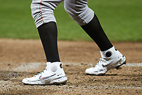 A closeup of the Nike React cleats worn by Jose Rodriguez (28) of the Down East Wood Ducks during the game against the Kannapolis Cannon Ballers at Atrium Health Ballpark on May 4, 20121in Kannapolis, North Carolina. (Brian Westerholt/Four Seam Images)