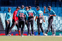 13th March 2020, Sydney Cricket Ground, Sydney, Australia;  The Blackcaps celebrate after Jimmy Neesham takes the wicket of David Warner. International One Day Cricket. Australia versus New Zealand Blackcaps, Chappell–Hadlee Trophy, Game 1.
