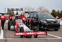 Feb 21, 2020; Chandler, Arizona, USA; Crew members for NHRA top fuel driver Doug Kalitta during qualifying for the Arizona Nationals at Wild Horse Pass Motorsports Park. Mandatory Credit: Mark J. Rebilas-USA TODAY Sports