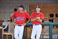 Elizabethton Twins hitting coach Jeff Reed (1) and manager Ray Smith (2) after the Twins won the Appalachian League Championship Series against the Princeton Rays 2-1 at Joe O'Brien Field on September 5, 2018 in Elizabethton, Tennessee. (Tony Farlow/Four Seam Images)