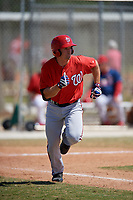 Washington Nationals Rhett Wiseman (8) runs to first base during a minor league Spring Training game against the St. Louis Cardinals on March 27, 2017 at the Roger Dean Stadium Complex in Jupiter, Florida.  (Mike Janes/Four Seam Images)
