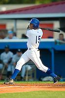 Burlington third baseman Antonio Jimenez (15) follows through on his solo home run in the second inning versus Bristol at Burlington Athletic Park in Burlington, NC, Thursday, July 12, 2007.