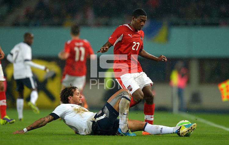VIENNA, Austria - November 19, 2013: Jermaine Jones of USA and David Alaba of Austria during the international friendly match between Austria and the USA at Ernst-Happel-Stadium.