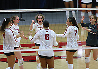 Arkansas celebrates after point on Sunday, Oct. 10, 2021, during play at Barnhill Arena, Fayetteville. Visit nwaonline.com/211011Daily/ for today's photo gallery.<br /> (Special to the NWA Democrat-Gazette/David Beach)