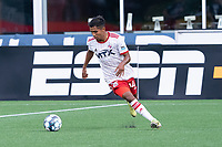 FOXBOROUGH, MA - JUNE 26: Gibran Rayo #14 of North Texas SC during a game between North Texas SC and New England Revolution II at Gillette Stadium on June 26, 2021 in Foxborough, Massachusetts.