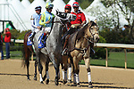 April 11, 2015: Jockey John Velazquez aboard Race Day during post parade  of the Oaklawn Hanicap at Oaklawn Park in Hot Springs, AR. Justin Manning/ESW/CSM