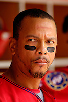 11 June 2006: Royce Clayton, shortstop for the Washington Nationals, waits for his at-bat in the dugout during a game against the Philadelphia Phillies at RFK Stadium, in Washington, DC. The Nationals shut out the visiting Phillies 6-0 to take the series three games to one...Mandatory Photo Credit: Ed Wolfstein Photo..