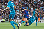 Lionel Messi of FC Barcelona (L) fights for the ball with Mateo Kovacic of Real Madrid (R) during the Supercopa de Espana Final 1st Leg match between FC Barcelona and Real Madrid at Camp Nou on August 13, 2017 in Barcelona, Spain. Photo by Marcio Rodrigo Machado / Power Sport Images