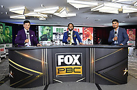 LOS ANGELES, CA - APRIL 28: (L-R) Ray Flores, Shawn Porter, and Mikey Garcia at the press conference for the Andy Ruiz Jr. vs Chris Arreola Fox Sports PBC Pay-Per-View in Los Angeles, California on April 28, 2021. The PPV fight is on May 1, 2021 at Dignity Health Sports Park in Carson, CA. (Photo by Frank Micelotta/Fox Sports/PictureGroup)
